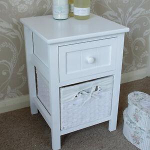 Blanc un tiroir meuble rangement avec panier en osier x shabby unit chic chevet ebay - Chevet avec panier osier ...