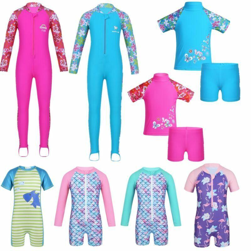 Kids Boys Girls Sun Protective Swimwear Rash Guard Costume Surfing Swimsuit Set