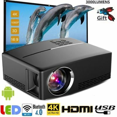 WiFi 4K 3D Full HD 1080P LED Projector Mini Home Cinema Bluetooth AV/TV/USB/HDMI