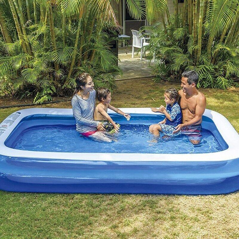 "Giant Inflatable Kiddie Rectangular Pool -  120"" X 72"" X 20"" 10 Feet Long"