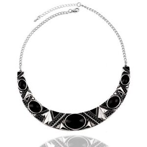Necklace - Silver with Black Stones, Round. Eden Hill Bassendean Area Preview