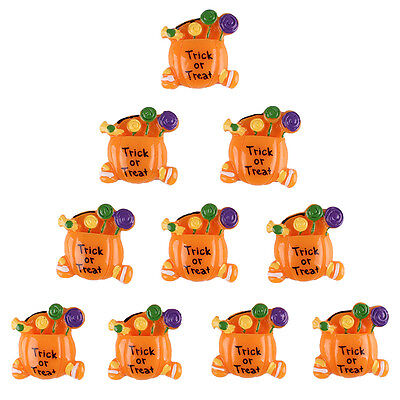 10pcs Halloween Trick & Treat Candy Pumpkin Resin Flatbacks Hair Bow Clip - Halloween Hair Bow Embellishments
