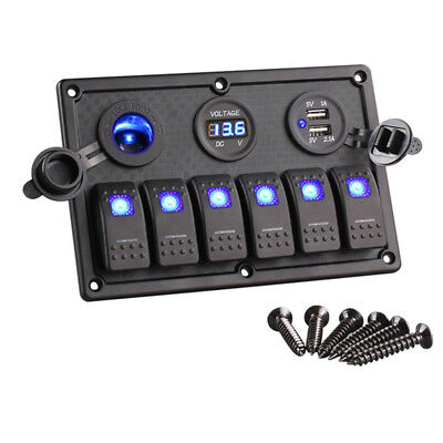 6 Gang Rocker Switch Panel Circuit Breaker Blue Led Rv Car Marine Boat Accessory