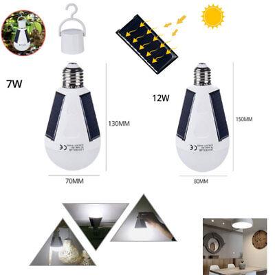 2Pcs E27 7/12W LED Solar Panel Powered LED Light Bulb Garden Camp Tent Hook Lamp