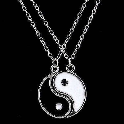 New Elephantine Ying and Yang Yin BEST FRIENDS Enamel 2 Necklace Pendant