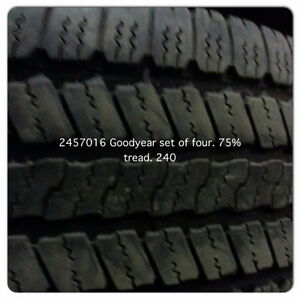 245 70 16 GOODYEAR SET OF4 75%tREAD