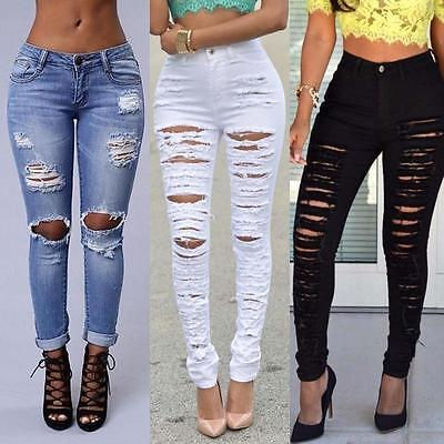 Women Sexy Pants Ripped Knee Cut Skinny Boyfriend Long Jeans Trousers