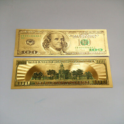 24K Pure  Colorized  999 Gold Us 100 Dollar Bill Bank Note  100 Free Plastic