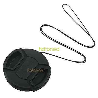 52mm center pinch snap on Front Lens Cap Cover for Canon Nikon Sony with string