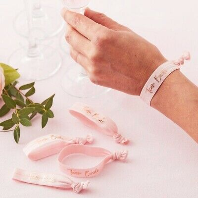 Pink Team Bride Wrist Bands Bracelets Hen Night Party Favours Accessories - Pk 5](Team Bride Wristbands)