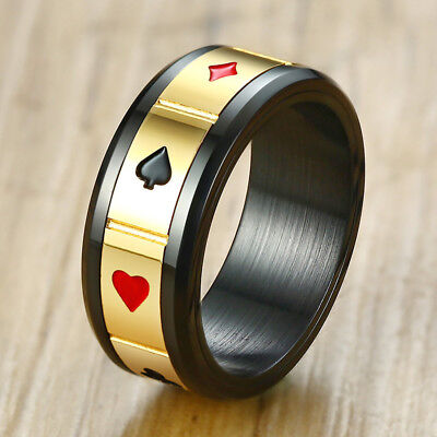 Rotatable Ring for Men Black Stainless Steeel Spinner Lucky Poker Design