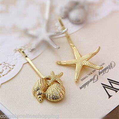 Gold Silver Starfish Hair Clip Beach Sea Mermaid Hairpin Women Fashion Accessory