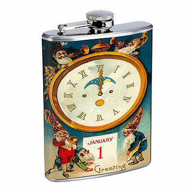 Vintage New Years Eve D10 Flask 8oz Stainless Steel Hip Drinking Whiskey - New Years Eve Drinks