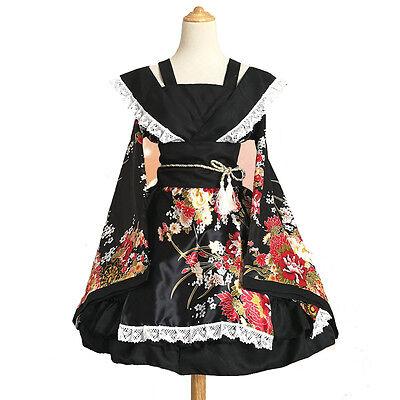 Damen Japanese Kimono Yukata Lolita Mädchen Kleid Cosplay Kostüme Plus (Plus Size Kimono Kostüme)