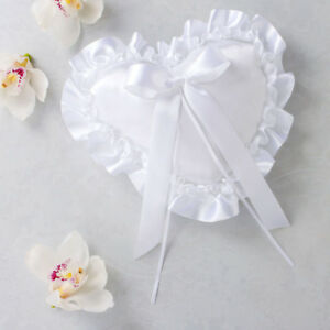 Wedding White Heart Ring Bearer Pillow