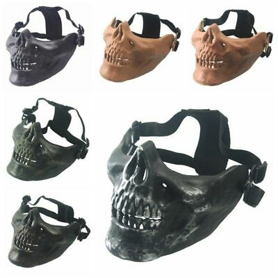 Half Face Skull Skeleton Mask Hunting Tactical Military Costume Halloween Masks - Half Skull Costume