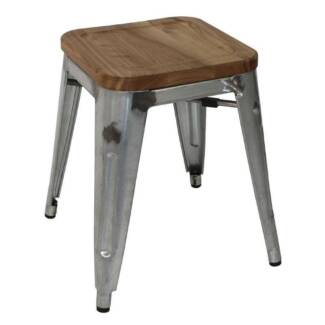 4x Bolero Galvanised Steel Bistro Low Chair Stools with Wooden Se Elsternwick Glen Eira Area Preview