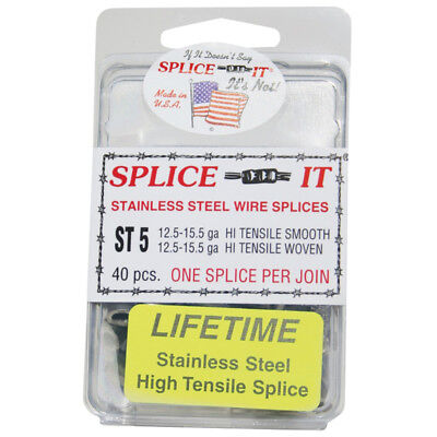 New Farm St5 Splice-it Stainless Steel Fence Splices 40-count