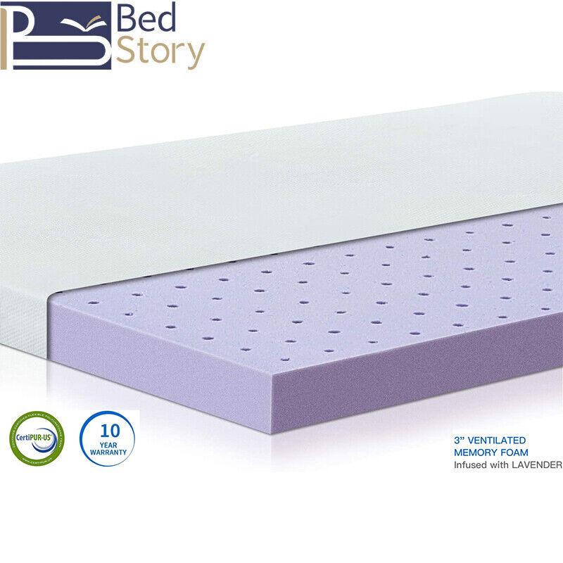 BedStory 3 inch Mattress Topper Lavender Hypoallergenic Pressure Relief Topper