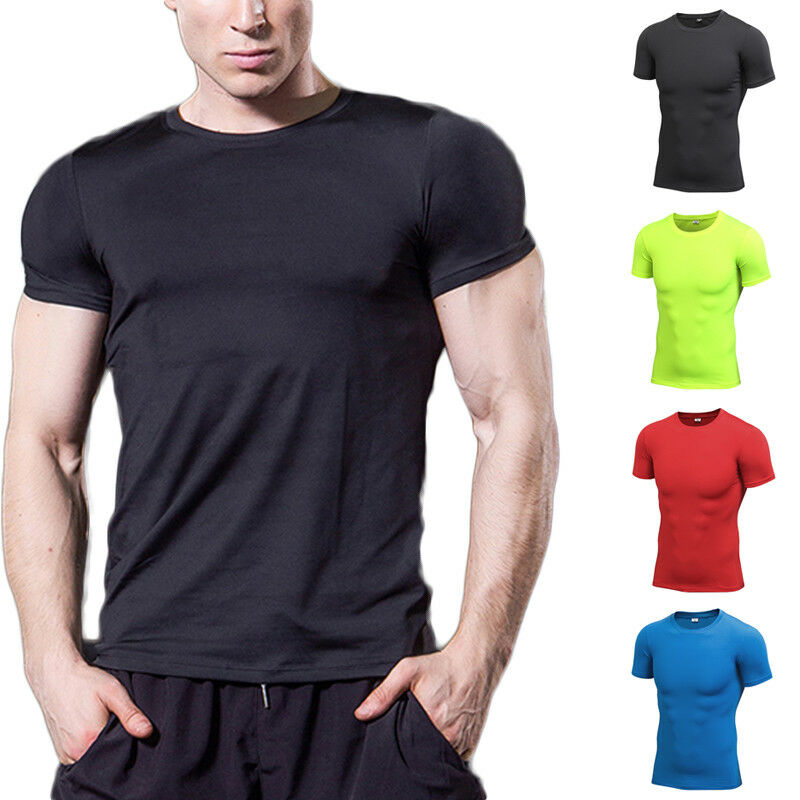 DE Herren Kompression Funktionsshirt Fitnessmode Shirt Sport Gym Unterhemd