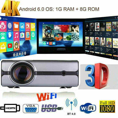 4K 3D Wireless WiFi LED Projector Android BT HD 1080P Smart Home Theater Cinema