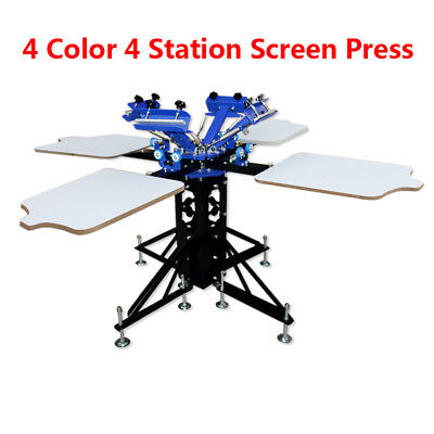 Techtongda Screen Printing Press 4 Color Double Rotary Silk Printer Diy Machine