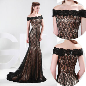 Vintage-Black-Lace-Cocktail-Formal-Prom-Bridesmaid-Gown-Party-Evening-Long-Dress