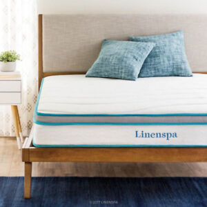 "Mattress LinenSpa 8"" Memory Foam and Innerspring Hybrid Mattress"