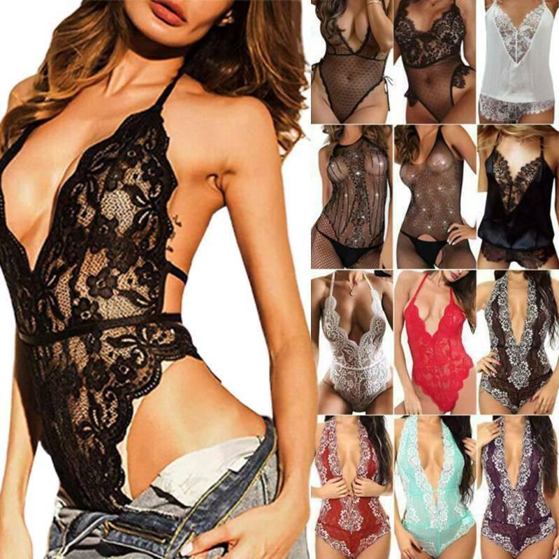 Nachtwäsche Damen Spitzen Dessous Reizwäsche Sexy Unterwäsche Babydoll Bodysuit