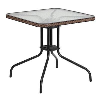 Flash Furniture 28 Square Tempered Glass Metal Table Dark Brown Rattan Edging