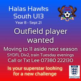 U13s Football player required (Stourbridge league)