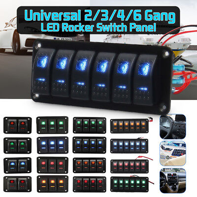 Onoff Rocker Switch Panel Dual Led Light Car Rv Marine Boat Waterproof 12v24v