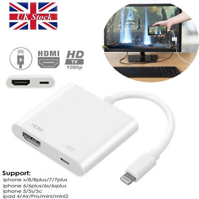 New 1080P Lightning To HDMI Digital AV TV Cable Adapter For Apple iPad iPhone UK