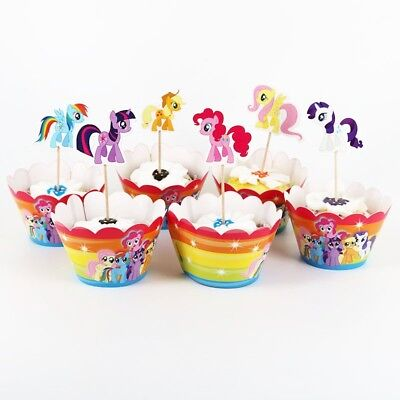 NEW Pack of 12 My Little Pony Themed Party Cupcake Wrappers & Toppers (My Little Pony Cupcake Wrappers)