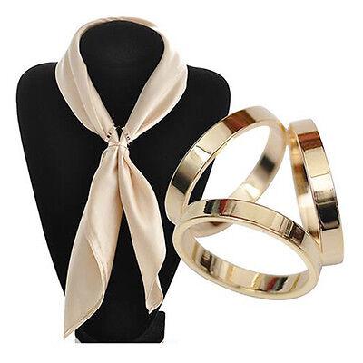 - Women Trio Scarf Gold Silver Ring Silk Scarf Buckle Clip Brooch Slide Jewelry