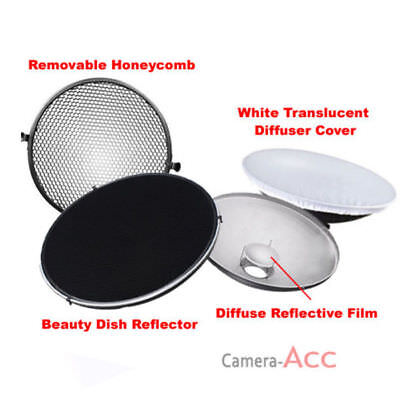 Photo Studio Flash Beauty Dish 42cm Bowens S type Honeycomb + White Diffuser