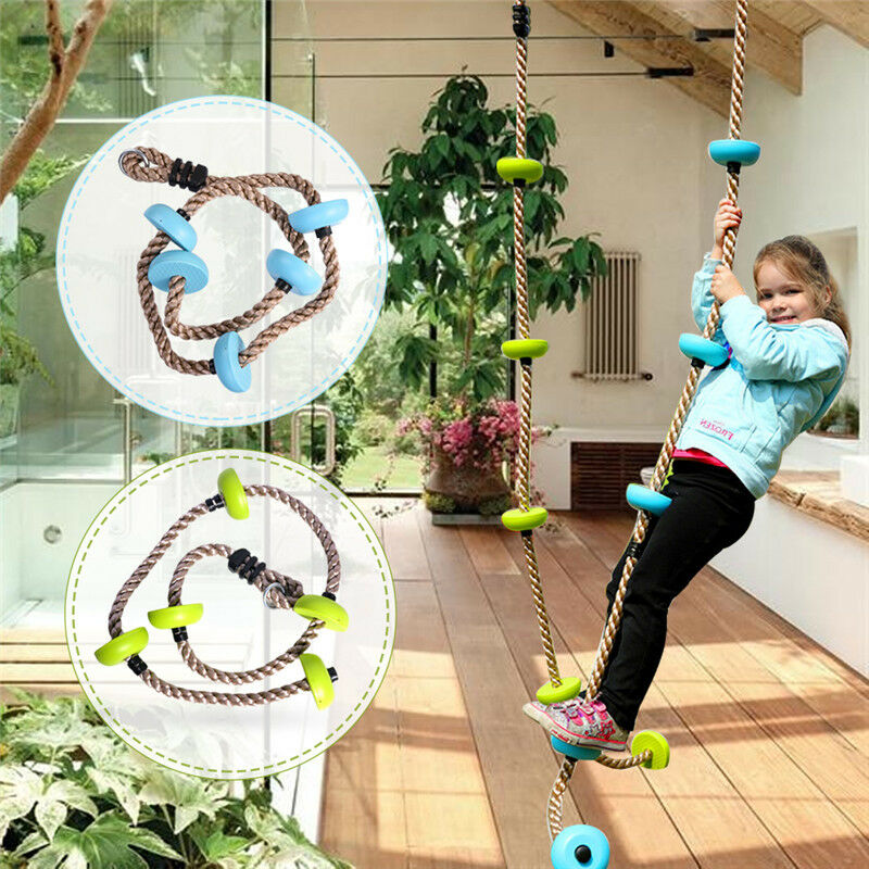 Details About 6 5 Ft Climbing Rope With Platforms Swing Set Accessories Fun Kids Outdoor Gym