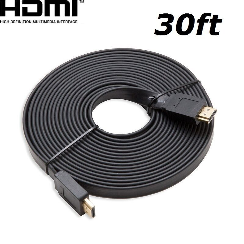HDMI 30FT Flat HDMI V1.4 3D Ethernet Cable For Blu-ray DVD Xbox One PS4 HDTV US Consumer Electronics