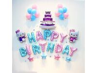 Two Themes in 1 Set-HelloKitty Happy Birthday Foil Balloons Pac Party Decoration