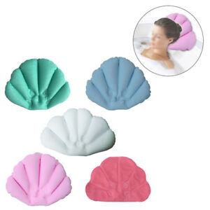 Soft Home Spa Inflatable Bath Pillow Cups Shell Shaped Neck Bathtub Cushion UK