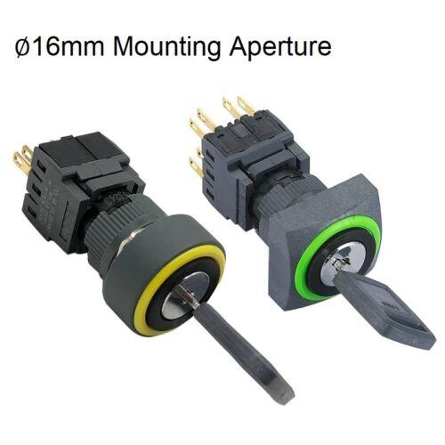 16mm Waterproof 3Position Elesctrical key Rotary switch 3NO+3NC key Lock switch