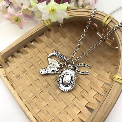 Country Western Necklace Cowgirl Good Luck Cowboy Hat Cowboy Boot Horse Jewelry