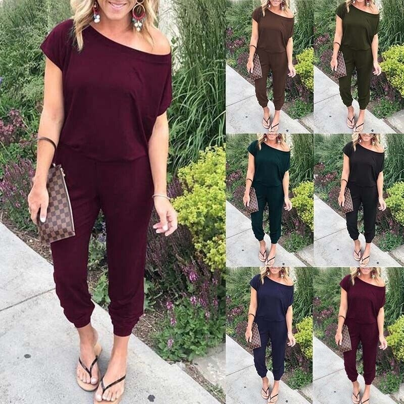 Women Casual Off Shoulder Jumpsuits Bodycon Short Sleeve Romper Trousers