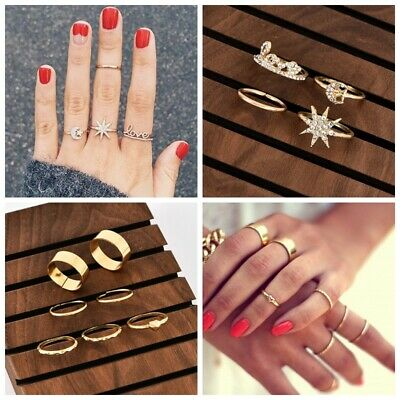 2Styles Crystal Gold Star Moon Heart Knuckles Rings Adjustable Midi Finger Ring Gold Star Heart