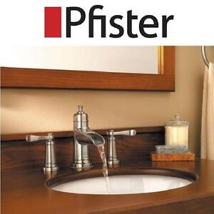 "NEW PFISTER  BATHROOM SINK FAUCET ASHFIELD, 2 HANDLE, LEAD FREE, 8"" WIDESPREAD, BRUSHED NICKEL 102155755"