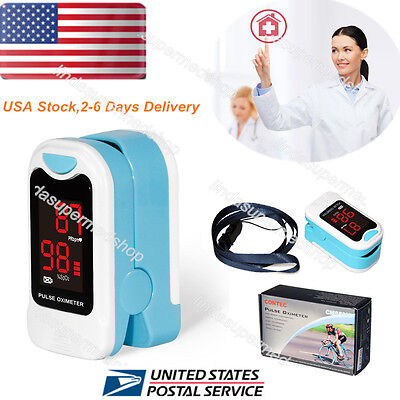 Fingertip Pulse Oximeter Blood Oxygen Spo2 Meter Monitorpouchlanyard Usa Led