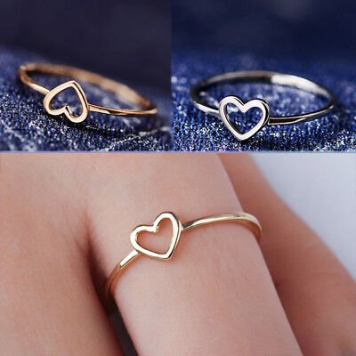 Woman Fashion Rose Gold Color Heart Shaped Wedding Ring Valentine's Day gift