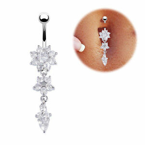 Belly Bar Navel Button Ring Crystal Gem Dangly Surgical Steel Body Jewellery