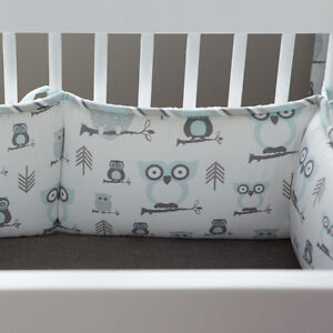 Crib bedding and mobile - Mist and Gray Owl