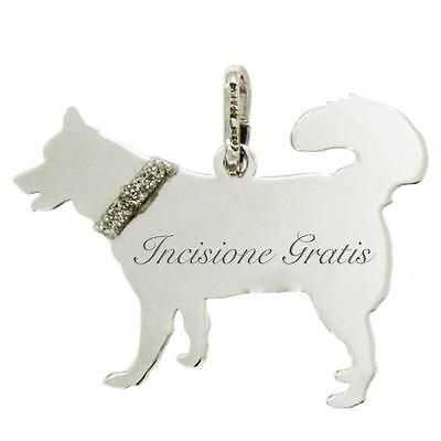 Ciondolo cane Husky mm 22x28 in argento 925 rodiato incisione gratis
